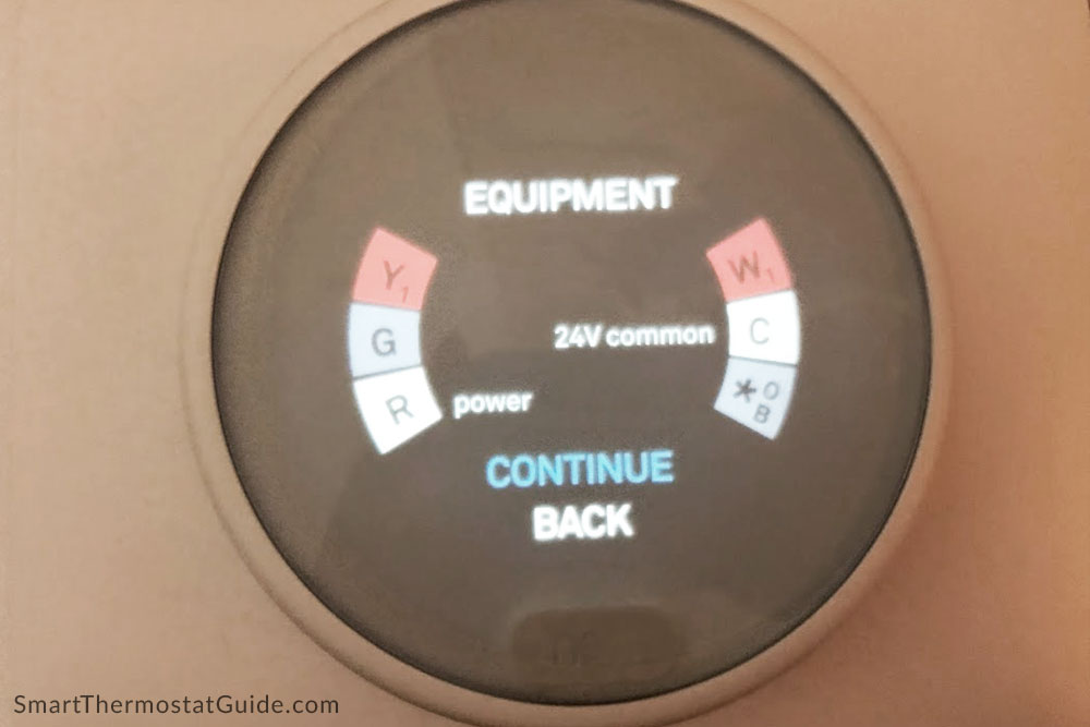 Photo of Nest Thermostat E setup step indicating a missing wire