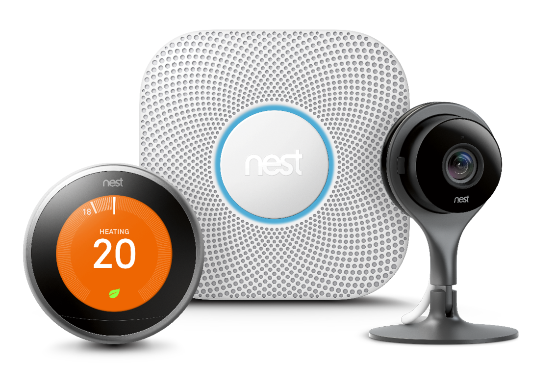 Product shots of Nest Thermostat, Nest Protect, and Nest Camera